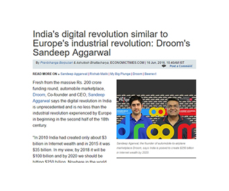 India's digital revolution similar to Europe's industrail revolution : Droom's Sandeep Aggarwal