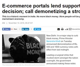 E-commerce portals lend support to PM's decision; call demonetizing a stroke