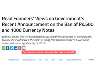 Read Founders' Views on Government's Recent Announcement on the Ban of Rs.500 and 1000 Currency Notes