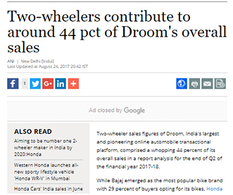 Two-wheelers contribute to around 44 pct of Droom's overall sales