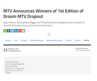 http://bwdisrupt.businessworld.in/article/MTV-Announces-Winners-of-1st-Edition-of-Droom-MTV-Dropout-/13-11-2017-131427/
