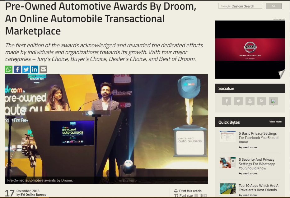 Pre-Owned Automotive Awards By Droom, An Online Automobile Transactional Marketplace