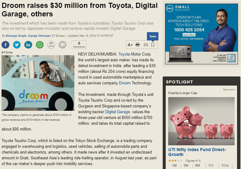 https://economictimes.indiatimes.com/small-biz/startups/newsbuzz/droom-raises-30-million-from-toyota-digital-garage-others/articleshow/64204835.cms
