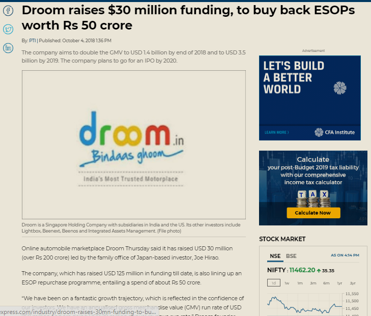 https://www.financialexpress.com/industry/droom-raises-30mn-funding-to-buy-back-esops-worth-rs-50-cr/1336920/