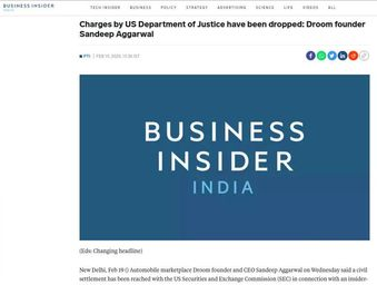 Charges by US Department of Justice have been dropped: Droom founder Sandeep Aggarwal