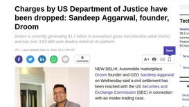 Charges by US Department of Justice have been dropped: Sandeep Aggarwal, founder, Droom