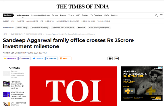 Sandeep Aggarwal family office crosses Rs 25crore investment milestone